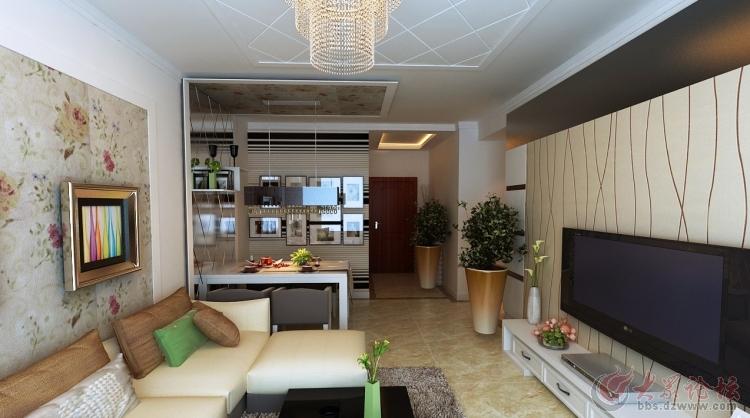 济南实创装饰-万象新天88平米两居室装修效果图