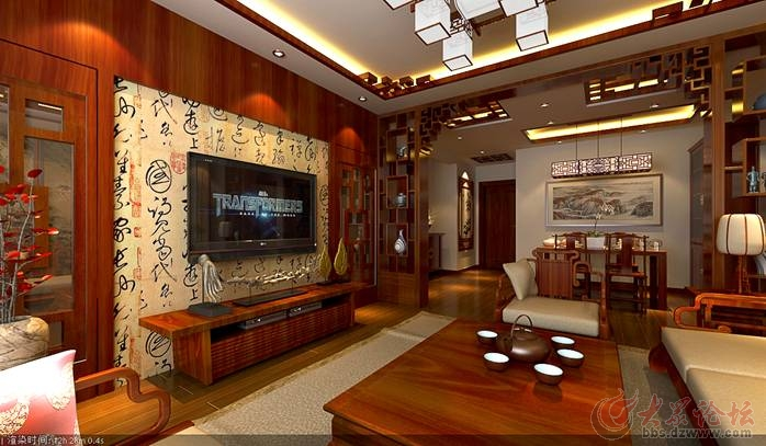 盛世名门中式风格130平米三居室装修效果图-济南实创