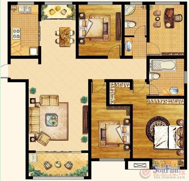 实创装饰 泉景天沅 和园雅园185平米四居室中式装修效果图