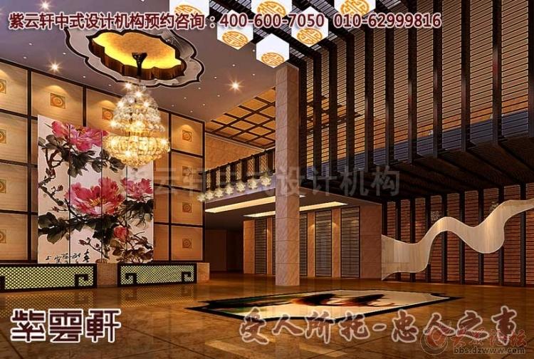 新古典中式酒店大堂装修设计效果图