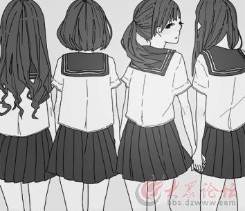 马尾辫女孩背影手绘