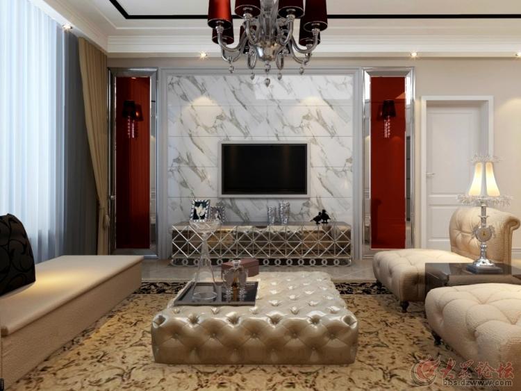 二居室-120㎡-客厅装修效果图;