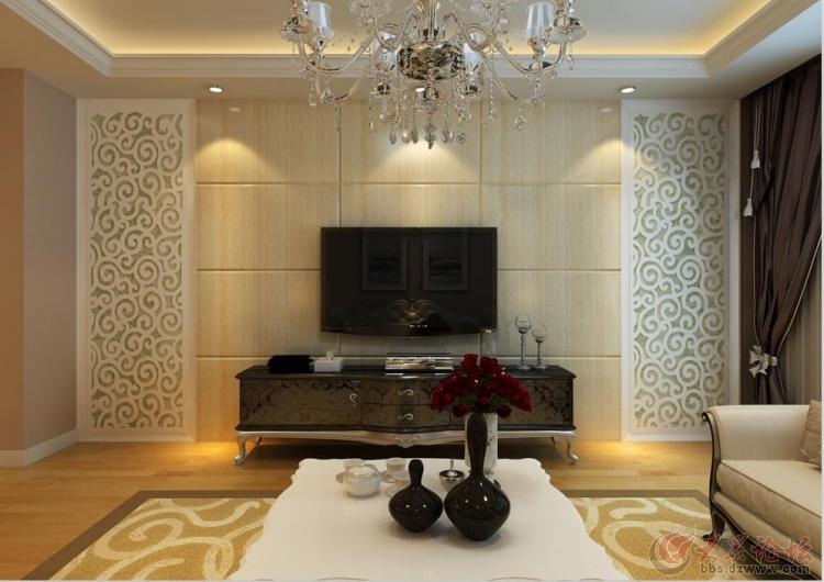客厅影视墙效果; 以人为本大地锐城现代简约设计