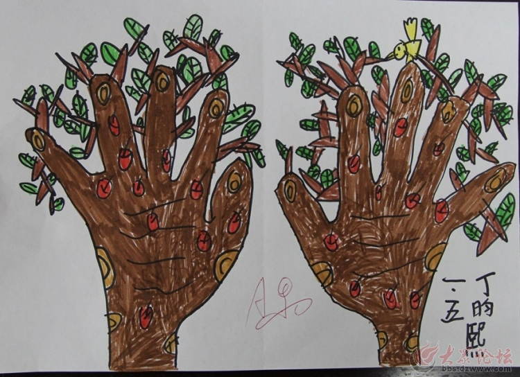 十个手指头创意画,一年级挑战你的创造力图片