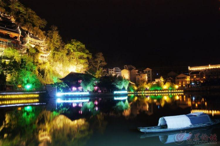 贵州镇远县屏山寺的夜景