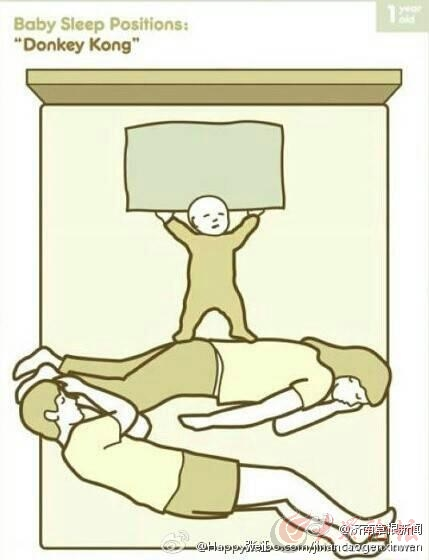 有娃之后,一家三口的睡姿,看看你家是那种