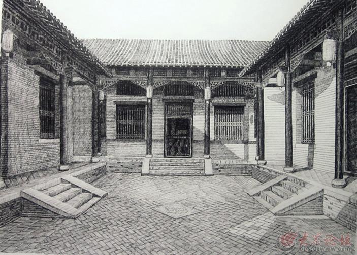 钢笔画——惠民魏氏地主庄园四合院