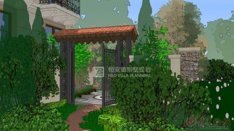本案为恒安德装饰在格拉斯小镇的别墅庭院景观设计,庭院基础原貌为U型半环绕主体别墅,分为上下两层,主体庭院为南侧下沉庭院。设计风格结合建筑的小镇风情,同时要满足业主对庭院功能性的要求。在下沉庭院中景观要有水系、亭台,空间功能要求有烧烤区和儿童篮球区,南侧上层庭院地势要有起伏。种植绿植要用高大的乔木围合出庭院的私密空间,三季有花四季常绿。