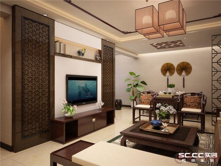 濟南鑫苑名家裝飾新中式風格客廳裝修效果圖