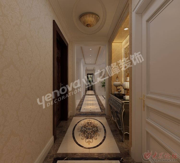 地面选择圆形拼花欧式地砖和顶面的圆形异形吊顶形成