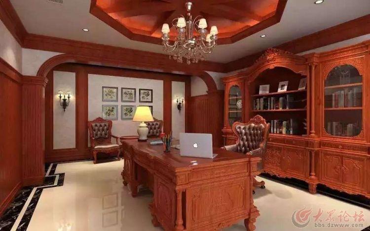 欧式装修红木家具的摆放效果图